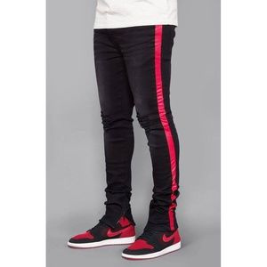 Other - Striped Track Jeans (Black/Red)